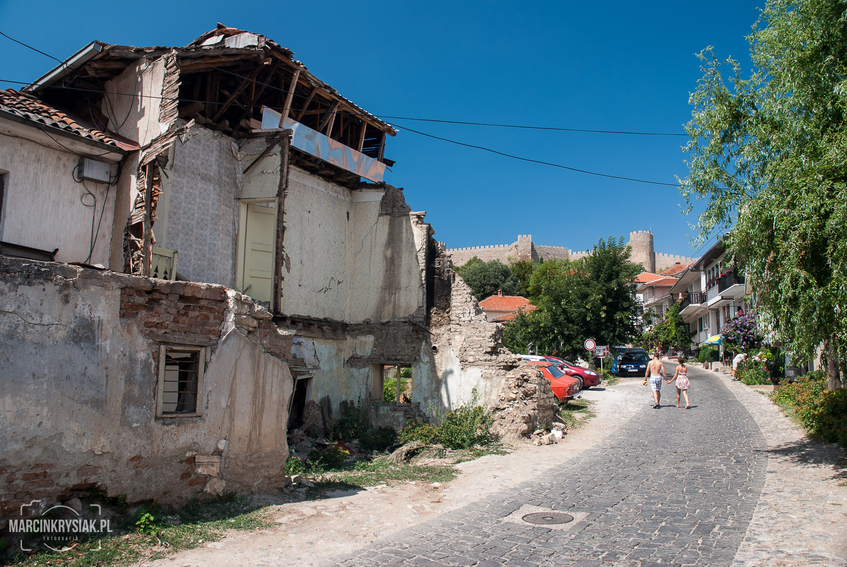 houses along the road in Ohrid, Macedonia